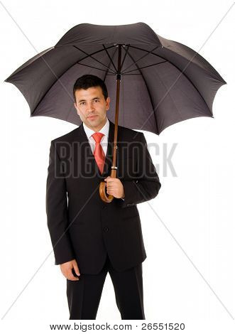 Young business man under an umbrella over white background