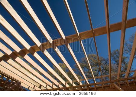 Floor Joists In The Clear Blue Sky