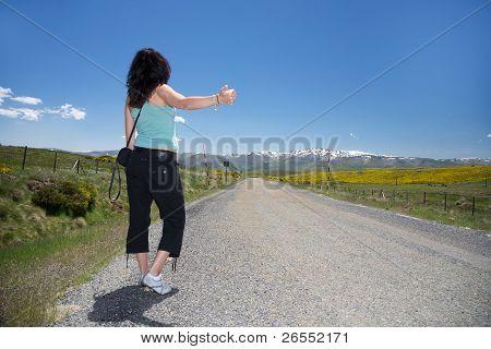 Hitch-hiking At Gredos Rural Road
