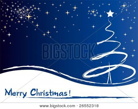 A christmas tree vector greeting card. Vector illustration