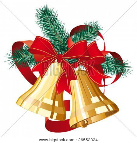 Two golden christmas bells with red bow