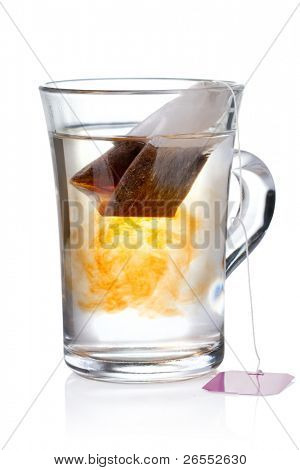 Glass of Tea with Bag End. Isolated on white background, with clipping path