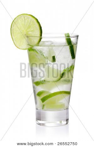 cold fresh lemonade. Isolated on white background, with clipping path