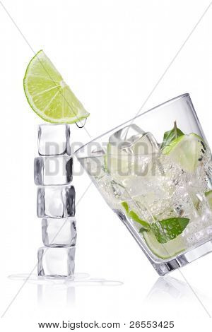 lemonade. Ice cubes and glass on a white background and with soft shadow.