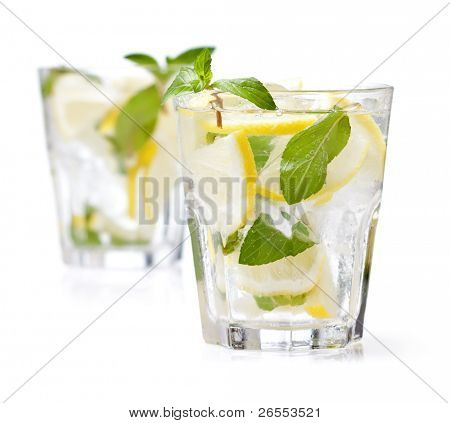 cold fresh lemonade. Isolated on white background