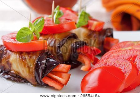 Eggplant rolls stuffed with pepper