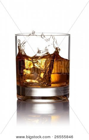 Whiskey splash. Isolated on white background, with clipping path