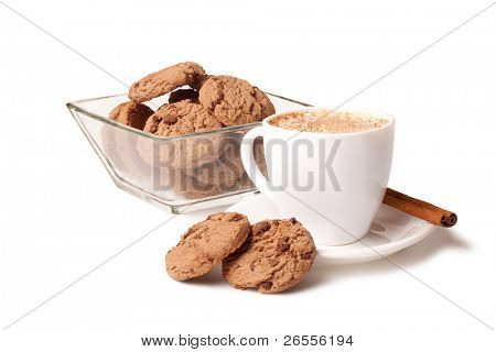 cup of coffee, cinnamon stick and chocolate chip cookies on white background