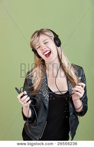 Teen Enjoys Music