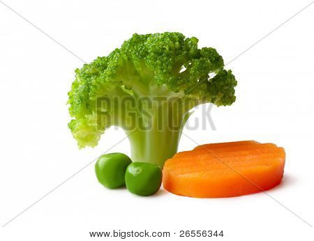 broccoli, peas and carrot on a White background