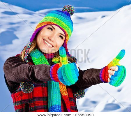 Happy Smiling Girl Portrait, Winter Fun Outdoor