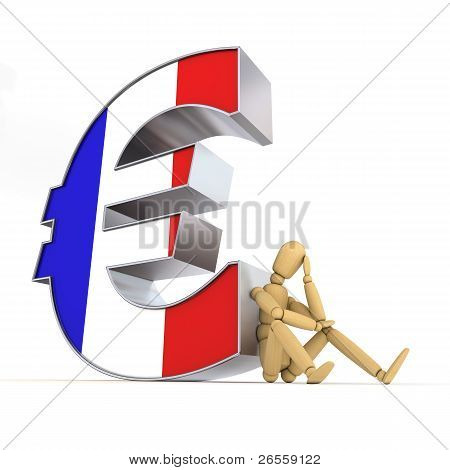 Doll Sitting At French Euro Sign