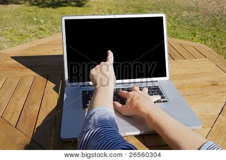 Old Woman Hands Marking On Screen