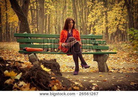 girl sitting on bench