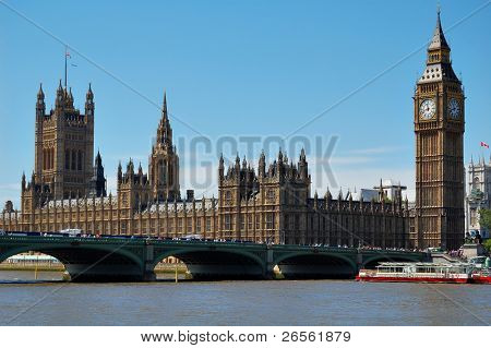 Der Big Ben, Houses of Parliament und Westminster Bridge in einem klaren Tag