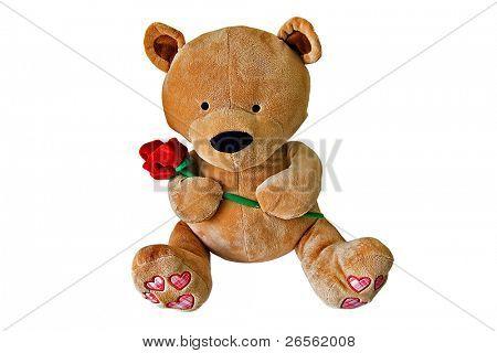 Fofinho ursinho de pelúcia segurando uma rosa vermelha
