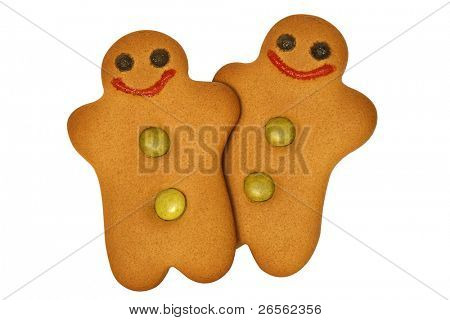 Two gingerbread men side by side isolated on white with clipping path