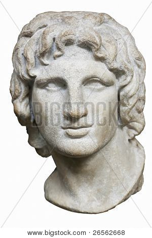 Bust of Alexander the Great in white marble isolated on white