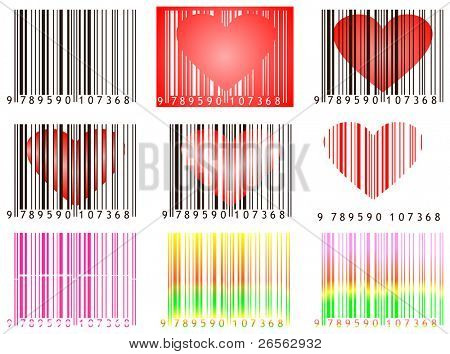Set of bar codes with hearts useful for valentine's day isolated on white