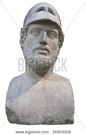 Bust of the greek statesman Pericles isolated on white with clipping path