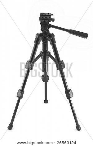 Black photographic tripod on a white background