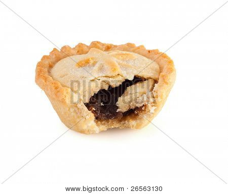 Christmas mince pie with a bite mark on a white background