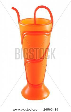 Plasting orange cup with drinking straw isolated on white with clipping path