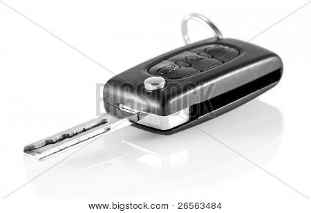 Car keys with reflections on a white background