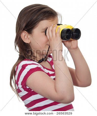 Girl looking through a pair of binoculars isolated on white