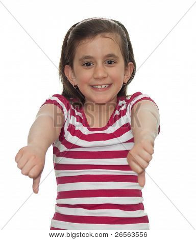 Young girl showing thumbs down isolated on white