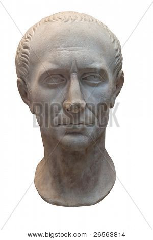 Marble bust of Julius Caesar isolated on white