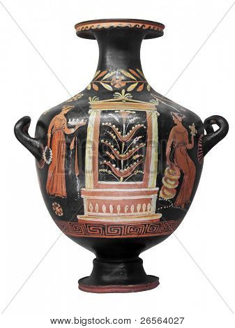 Ancient greek vase  isolated on white with clipping path