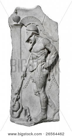 Relief of and ancient greek warrior with a spear isolated on white with clipping path