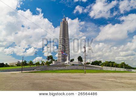 Platz der Revolution und der Jose Marti Denkmal in Havanna, Kuba mit einer schönen Himmel