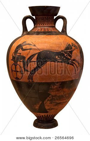 Ancient greek vase depicting a chariot  isolated on white with clipping path