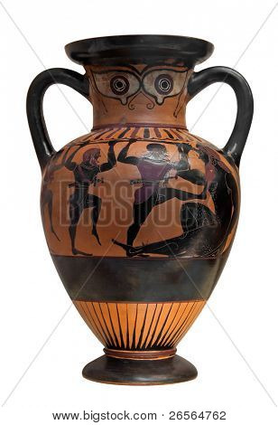 Ancient greek vase depicting Ulysses fighting the cyclop  isolated on white with clipping path
