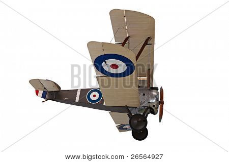 Old propeller biplane isolated on white with clipping path