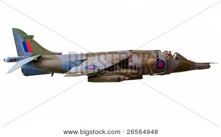 British Harrier fighter jet isolated on white with clipping path