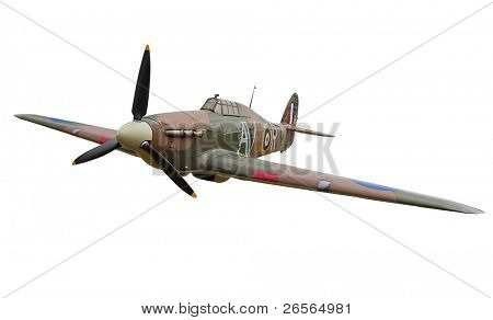 Old fighter propeller plane isolated on white with clipping path