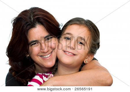 Young latin mother smiling and hugging her small daughter isolated on a white background