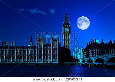 Night scene in London showing the Big Ben, a full moon and Westminster bridge