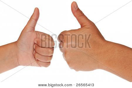 Adult and child hands one in front of the other making the thumbs up sign on a white background