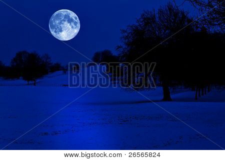 Snow covered park at midnight illuminated by a glowing full moon