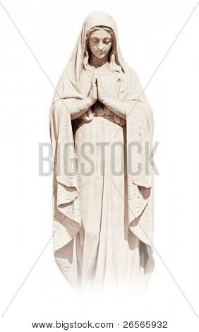 Statue of a religious young woman praying isolated on a white background with clipping path