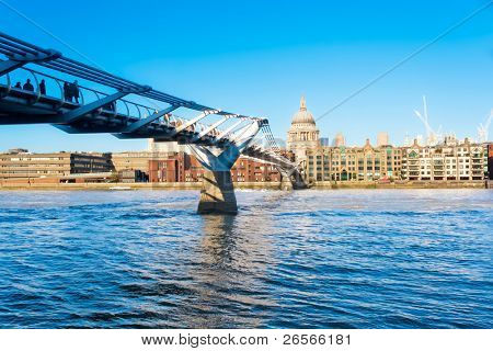 The Millennium Bridge and St Paul Cahedral in London