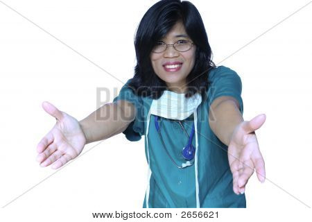 Kind Nurse With Welcoming Arms