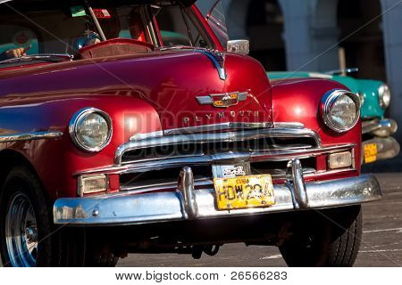 HAVANA-JANUARY 11:Classic cars January 11,2011 in Havana.Cubans keep thousands of them running despite the fact that parts have not been produced for decades and they've become an icon of the country