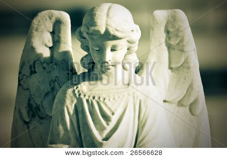 Beautiful marble angel with a vintage green look