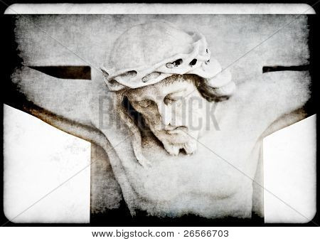 Vintage grunge image of the crucifixion of Jesus
