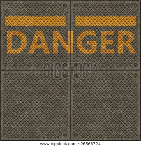 Seamless texture of a non slip pavement with a yellow line and the word DANGER
